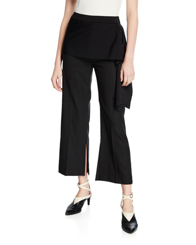 Draped Side-Tie Cropped Pants
