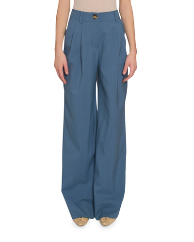 Eddie Wide-Leg Wool Trousers