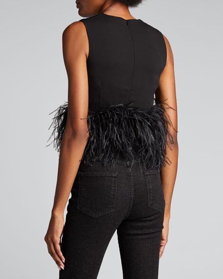 Sleeveless Crewneck Feather Crop Top