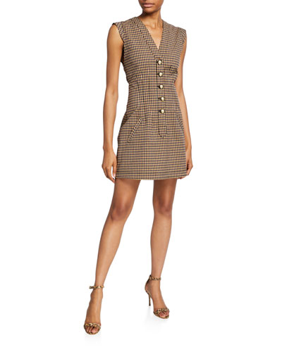 V-Neck Fit-&-Flare Button-Front Dress