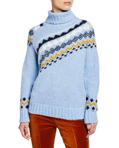 Diagonal Fair Isle Turtleneck Sweater