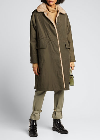 Reversible Mink-Fur Drawstring Coat