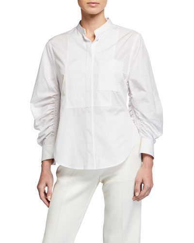 Gathered-Sleeve Poplin Button-Down Top
