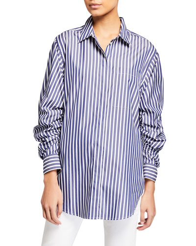 Striped Button-Down Gathered Sleeve Shirt