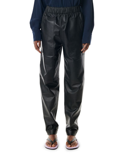 Faux Leather Relaxed Pull-On Pants