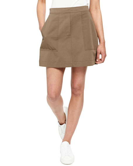 Stitched Pocket A-Line Mini Skirt