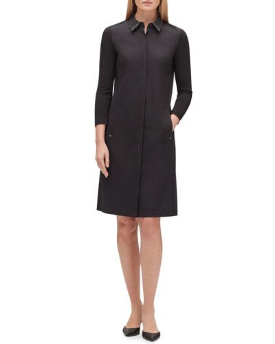 Juniper 3/4-Sleeve Stretch-Cotton Shirtdress