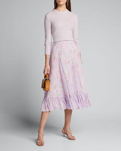 Lil Floral-Print Flounce Midi Godet Skirt