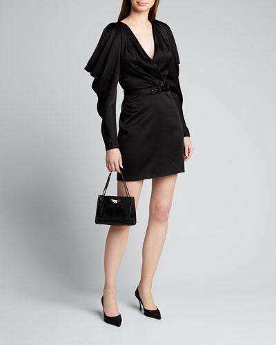 Open-Sleeve Woven Belted Mini Dress
