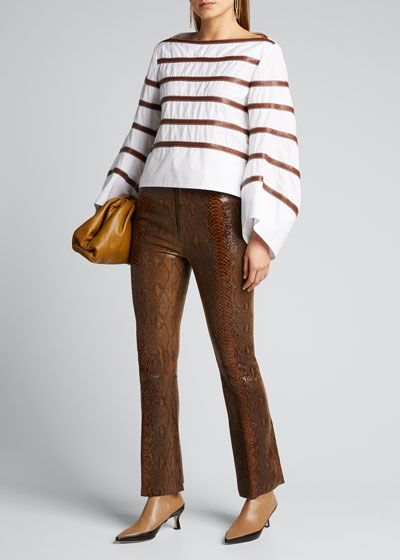 Front-Zip Ankle Flare Leather Pants