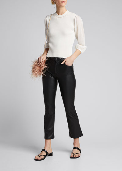 The Insider Ankle Vegan Leather Boot-Cut Pants