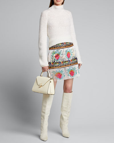 Beaded Embroidered Mini Skirt