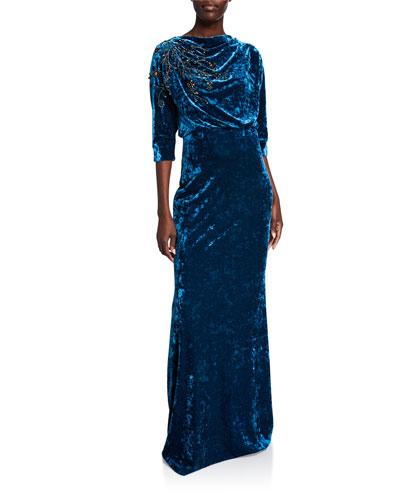 Beaded Velvet High-Neck Column Gown