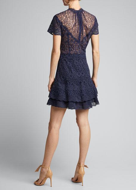 Multimedia Lace Ruffle Mini Dress