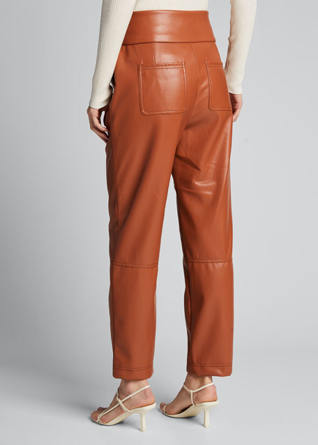 Vegan Leather Tie-Waist Pants