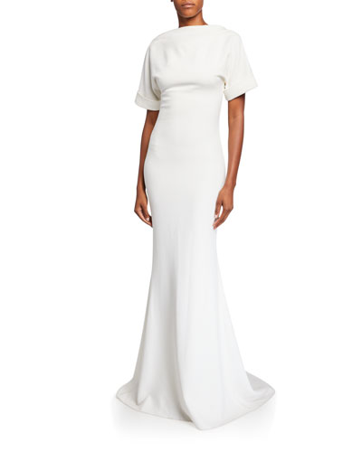 High-Neck Low-Back Roll-Sleeve Crepe Mermaid Gown