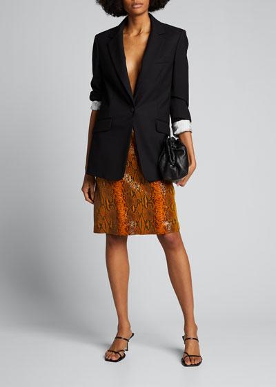 Leather Snake-Print Skirt