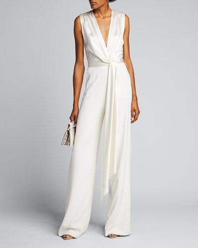 Satin Combo Wrap Jumpsuit
