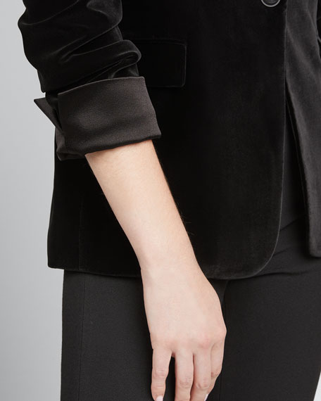 Macey Pleated-Sleeve Fitted Blazer