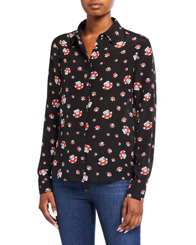 Friends With You X Alice + Olivia Willa Silk Placket Top