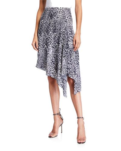Alexa Leopard-Print Asymmetrical Skirt