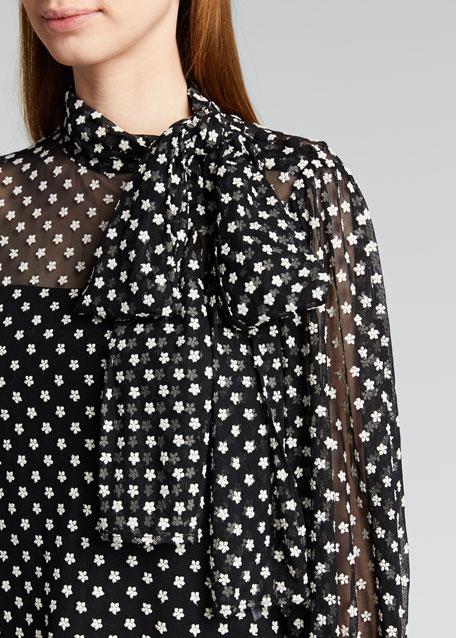 Tie-Neck Bracelet-Sleeve Floral Top