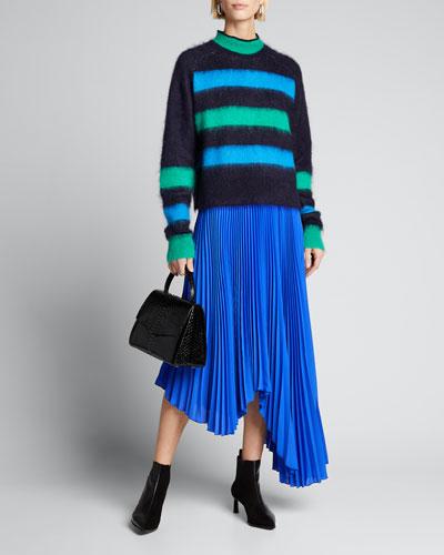 Koryn Asymmetric Pleated Midi Skirt
