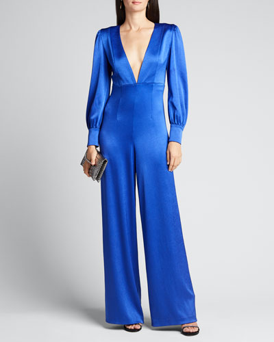 Lisa Satin Deep V-Neck Jumpsuit