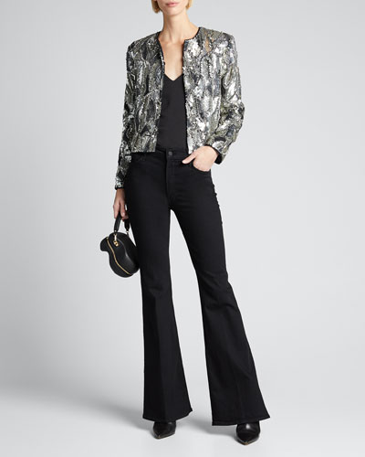 Kidman Embellished Strong-Shoulder Jacket