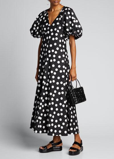 Cherry Spot Puff Sleeve Dress