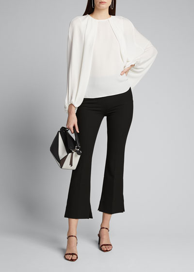 Isa Voluminous Sleeve Silk Blouse