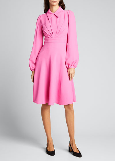 Collared Long-Sleeve Dress with Swallow Patch