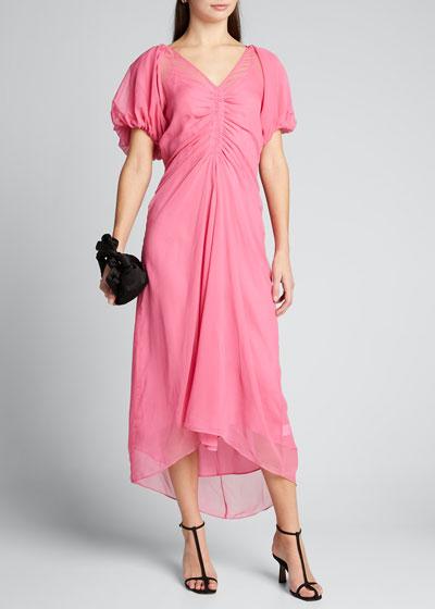 Estelle Puff-Sleeve Bias Dress