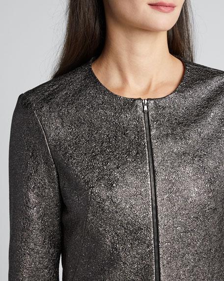 Metallic Leather Cropped 3/4-Sleeve Jacket