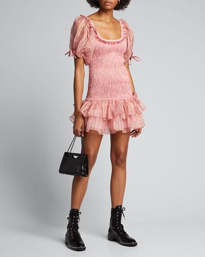 Violet Smocked Metallic Mini Dress
