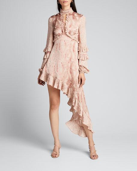 Liora Asymmetric Paisley Ruffle Dress