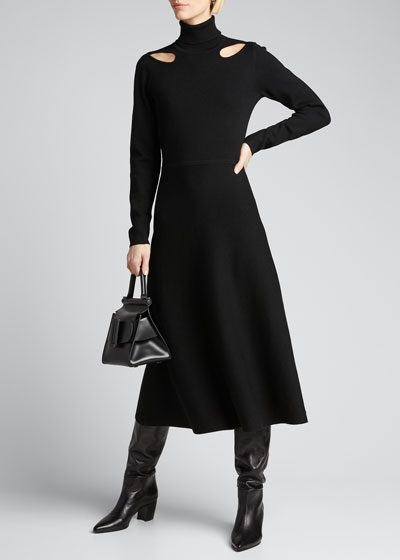 Turtleneck Long-Sleeve Cutout Dress