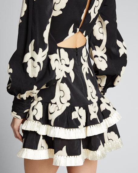 Rimini Printed Long-Sleeve Tiered Mini Dress