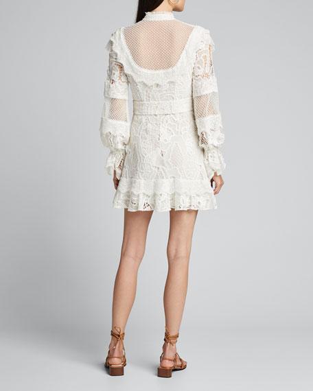 Shanna High-Neck Lace Short Dress