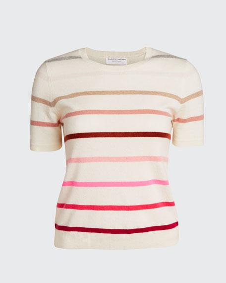 Ombre Stripe Crewneck Short-Sleeve Cashmere Sweater