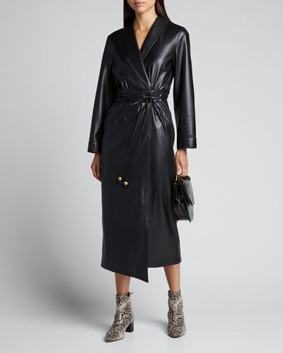 Emery Shawl-Collar Belted Vegan Leather Dress