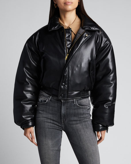 Bomi Vegan Leather Bomber Jacket