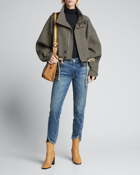 Houndstooth Crop Jacket with Faux-Leather Trim