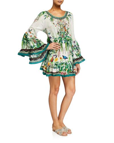 Floral A-Line Flared-Sleeve Mini Frill Dress
