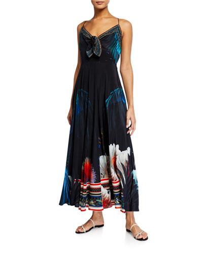 Tie-Front Printed Maxi Dress