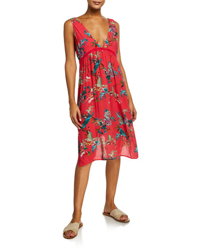 Malakye Floral Sleeveless Flowy Coverup Dress