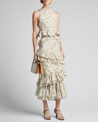 Annalie Cutout Ruffle Midi Dress