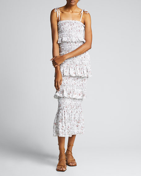 Haisley Ruched Tiered Floral Midi Dress