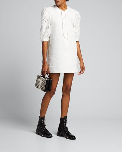 Alena Embroidered Linen Mini Dress