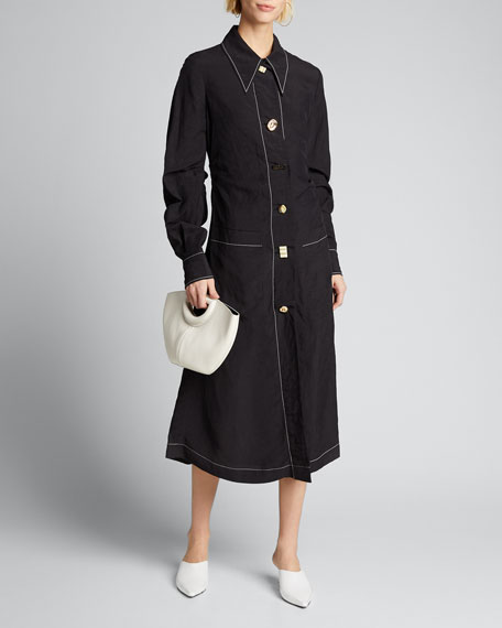 Image 1 of 1: Paula Button-Front Midi Shirtdress